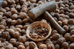 Walnuts and walnutsshells stock photos