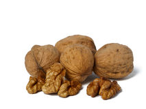 Walnuts on white background Stock Photography