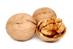 Walnuts  on white. Royalty Free Stock Photography