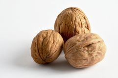 Walnuts on white background royalty free stock photography