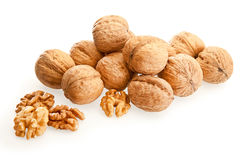 Walnuts on a white background. Isolated walnuts on a white background Royalty Free Stock Photo