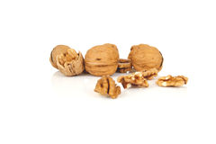 Walnuts on a white background Royalty Free Stock Image