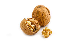 Walnuts   on a white background Royalty Free Stock Photos