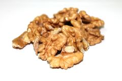 Walnuts. On white background stock photos