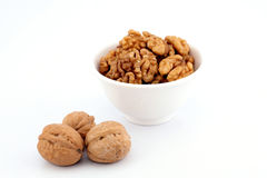 Walnuts in a white bowl Stock Image