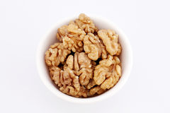Walnuts in a white bowl Stock Photos