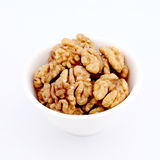 Walnuts in a white bowl Royalty Free Stock Photos