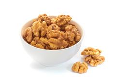 Walnuts in white bowl Royalty Free Stock Photography