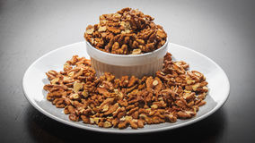 Walnuts. In the white bowl and plate Royalty Free Stock Images