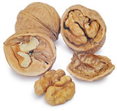 Walnuts  on the white. Clipping Path Royalty Free Stock Photography