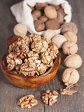 Walnuts whole and peeled. Royalty Free Stock Photos