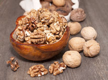 Walnuts whole and peeled. Stock Photography