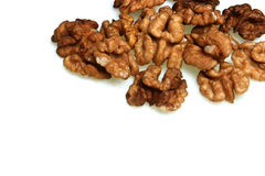Walnuts on whote background - studio shot Royalty Free Stock Photography