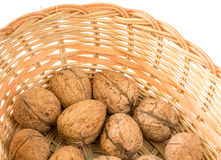 Walnuts & wicker basket Royalty Free Stock Images