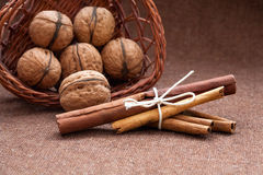 Walnuts in a wicker basket and cinnamon Royalty Free Stock Photo