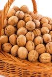 Walnuts in wicker basket Stock Image