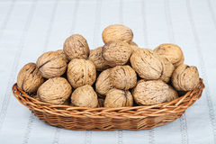 Walnuts. In wicker basket on white tablecloth Stock Photos
