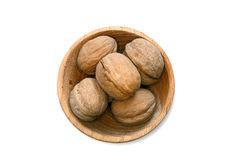 Walnuts on the withe background in study Stock Photography