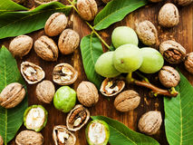 Walnuts on wood Royalty Free Stock Image