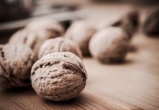 Walnuts on Wood Table royalty free stock photos