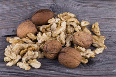 Walnuts. On a wooden background Stock Photo