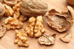 Walnuts. On wooden background. Close-up stock photo