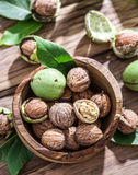 Walnuts in the wooden bowl. Royalty Free Stock Photo