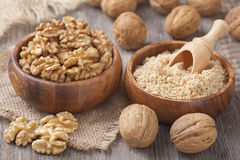 Walnuts in wooden bowls Stock Image