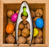 Walnuts in a wooden box Stock Images