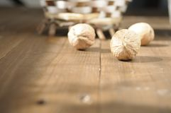 Walnuts on a wooden table Royalty Free Stock Image