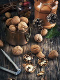 Walnuts on the wooden table. Stock Photo