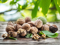 Walnuts on the wooden table. Royalty Free Stock Images