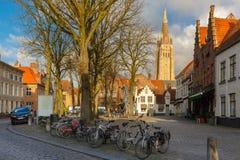 Walplein square of Brugge, Belgium Stock Photos