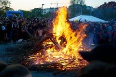 Walpurgis night in Stockholm, Sweden stock photo