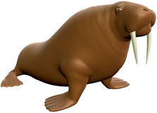Walrus. In cartoon style with isolation on a white background Royalty Free Stock Images
