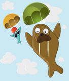 Walrus and fish with a parachute Royalty Free Stock Photo