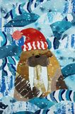 Walrus at sea vector illustration