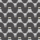 Walrus seamless pattern. Marine mammal with long tusks. Alaska animal and wild North. Royalty Free Stock Images