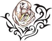 Walrus tattoo Stock Image