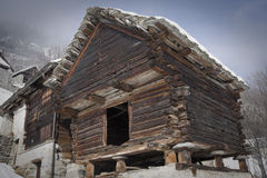 Walser house on the alps Royalty Free Stock Image