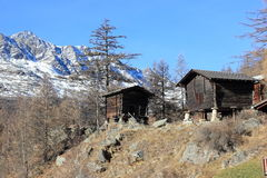 Walser style house in Saas-Almagell. The Alps, Switzerland. Stock Image