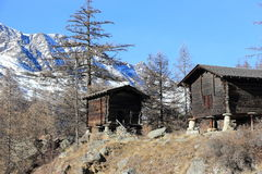 Walser style house in Saas-Almagell. The Alps, Switzerland. Royalty Free Stock Images
