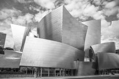 The Walt Disney Concert Hall on a cloudy day. The Walt Disney Concert Hall at 111 South Grand Avenue in Downtown of Los Angeles, California, is the fourth hall Stock Image