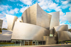 The Walt Disney Concert Hall on a cloudy day. The Walt Disney Concert Hall at 111 South Grand Avenue in Downtown of Los Angeles, California, is the fourth hall Stock Photos