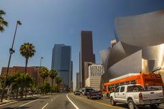 Walt disney concert hall and LA downtown Stock Image