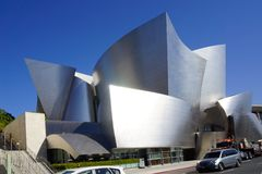 Walt disney concert hall in la futuristic building stock photography