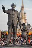 Walt Disney and Mickey Mouse. Tokyo Disneyland, Chiba, Japan- July 02, 2012- view of the statue of the famous Walt Disney and Mickey Mouse in front of the royalty free stock photography