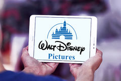 Walt disney pictures logo. Logo of the american walt disney pictures on samsung tablet Stock Photography