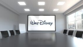 Walt Disney Pictures logo on the screen in a meeting room. Editorial 3D animation. Walt Disney Pictures logo on the screen in a meeting room. Editorial 3D vector illustration