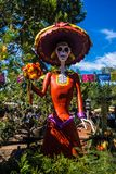 Day of the Dead Woman Skeleton at Disneyland Halloween. Walt Disney`s amusement park decorations for Halloween include Mexican heritage skeleton figures from Day Royalty Free Stock Photography